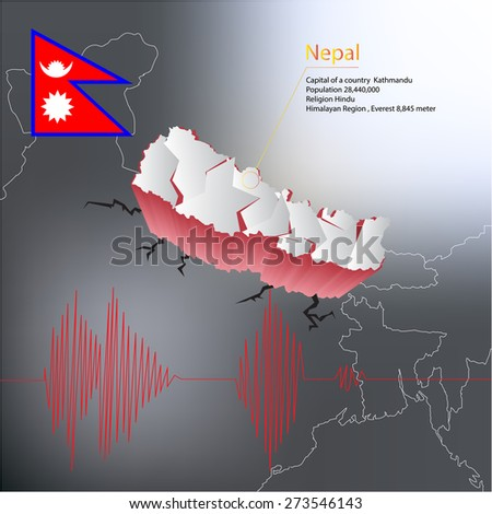 Nepal earthquake Map with highlighted Nepal map and flag - stock vector