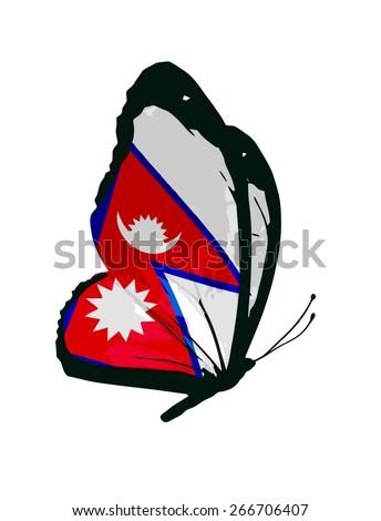 Nepal flag butterfly - vector - stock vector