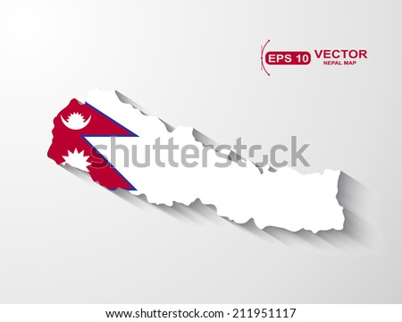Nepal map with shadow effect - stock vector
