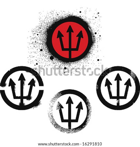 neptune symbol set - stock vector