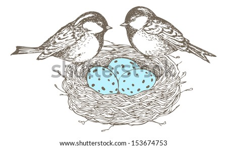 Nest with eggs and birds are separate groups, all fills and outlines are separate groups too, colors can be changed easily. - stock vector