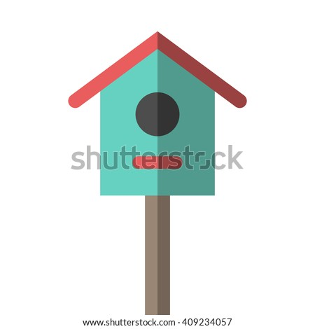 Nesting box on wooden pole isolated on white. Flat style birdhouse illustration. Spring, nature, garden, birds, house and home concept. EPS 8 vector illustration, no transparency - stock vector