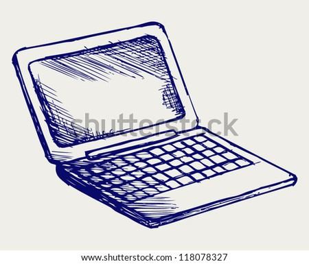 Netbook. Doodle style - stock vector