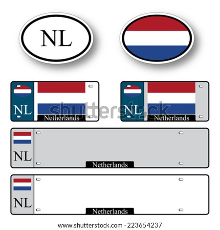 netherlands auto set against white background, abstract vector art illustration, image contains transparency - stock vector