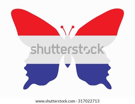 netherlands flag butterfly - stock vector