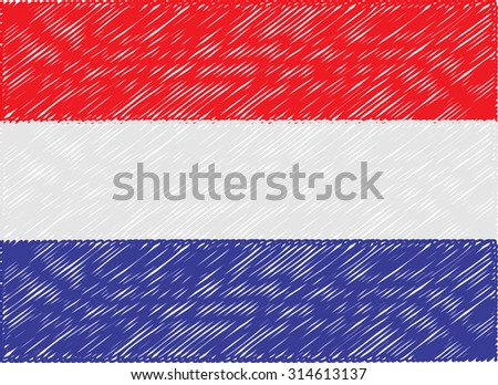 netherlands flag embroidered zigzag - stock vector