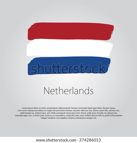 Netherlands Flag with colored hand drawn lines in Vector Format - stock vector