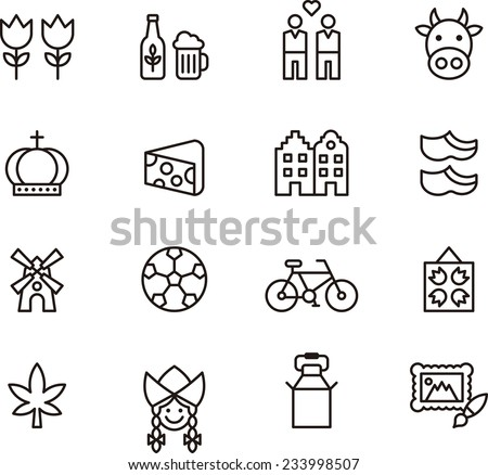 Netherlands icons - stock vector