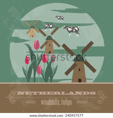 Netherlands landmarks. Retro styled image. Vector illustration - stock vector
