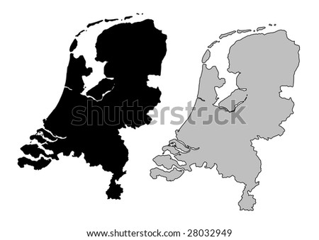 Netherlands map. Black and white. Mercator projection. - stock vector