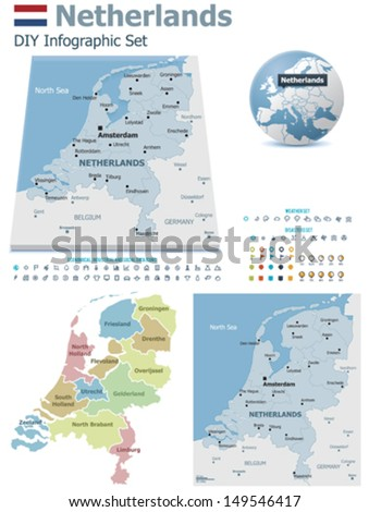 Netherlands  maps with markers - stock vector