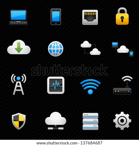 Network and cloud computing icons black background - stock vector