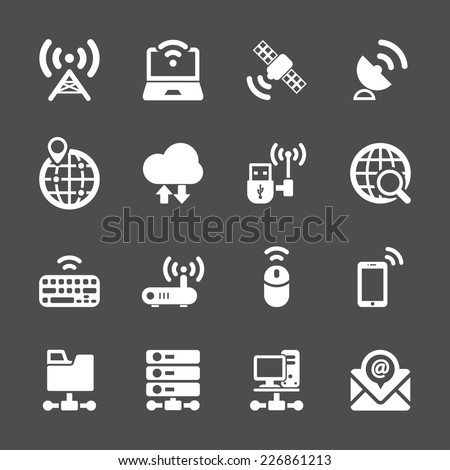 network and communication device icon set, vector eps10. - stock vector