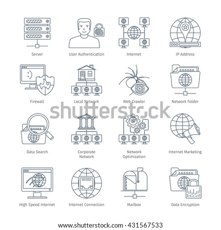 Network And Internet Thin Line Icons Set. Infographics Objects And Web Elements Collection - stock vector