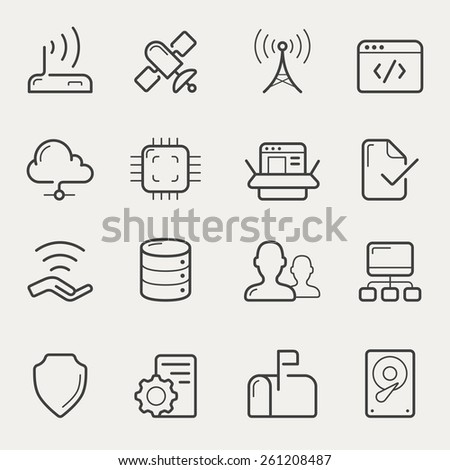 Network and servers icon set in line/stroke style. - stock vector