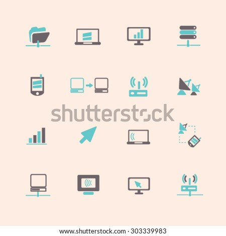 network, computer flat isolated icons, signs, illustrations set, vector - stock vector