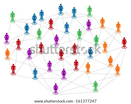 Network concept, different color community, population, men and women linked together - stock vector