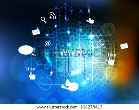 Network connection concept displaying connections with arrows and icons. - stock vector