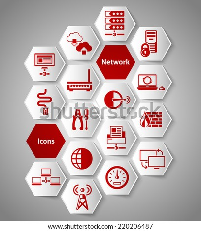 Network data security icons paper sticker set isolated vector illustration - stock vector