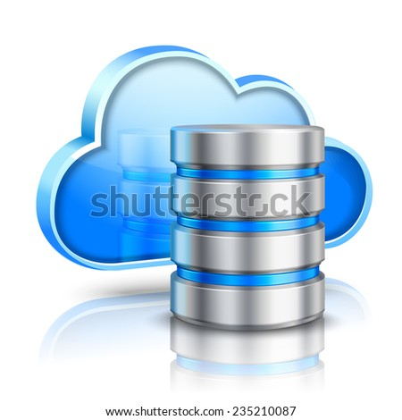 Network data server 3d cloud computing concept realistic vector illustration - stock vector