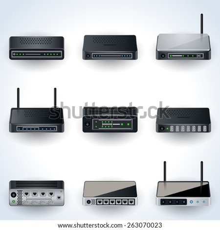 Network equipment icons. Modems, routers, hubs realistic vector illustration. - stock vector