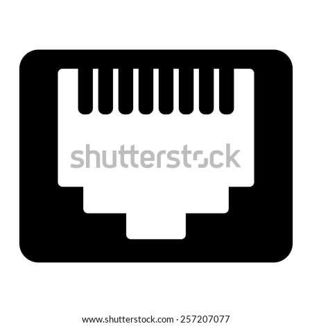 Network Ethernet port. Network router or switch icon. - stock vector