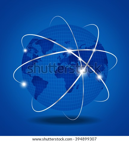 Network Global over blue background - stock vector