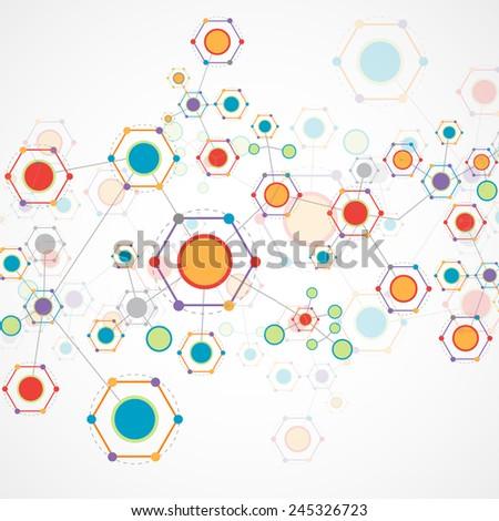 Network hexagonal color technology communication background - stock vector