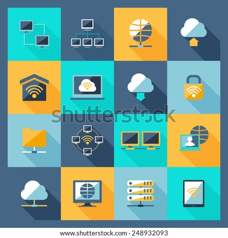 Network hosting data service web connection icons flat set isolated vector illustration - stock vector