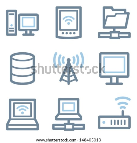 Network icons, blue line contour series - stock vector