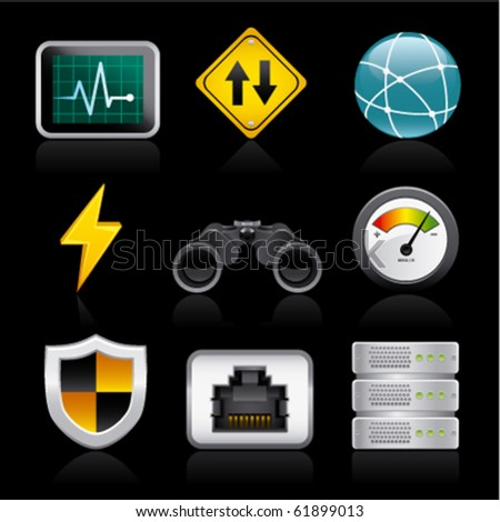 network icons on black - stock vector