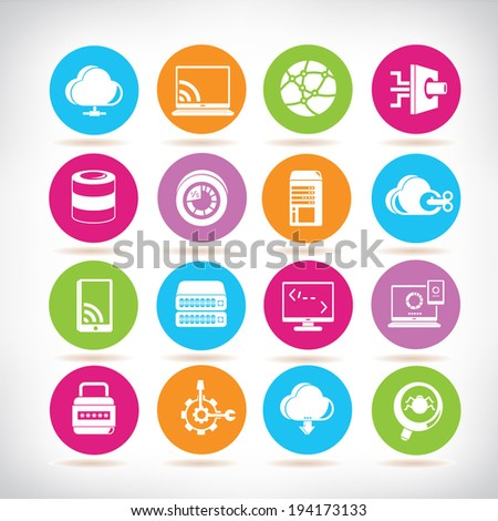 network icons set, circle buttons set - stock vector