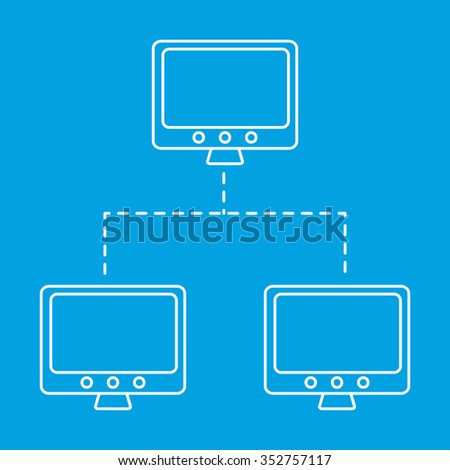 Network line icon. The main and connected computers single symbol on a blue background - stock vector