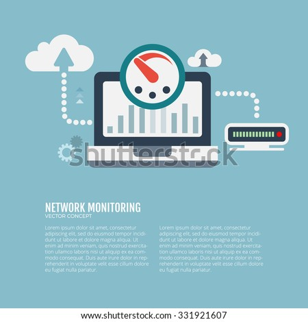 Network monitoring and cloud service concept. Vector Illustration. - stock vector