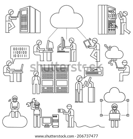 network people with cloud computing concept, network technician in server room, line theme - stock vector