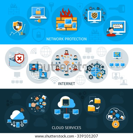 Network security horizontal banner set with cloud services elements isolated vector illustration - stock vector