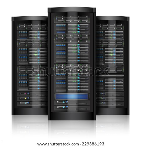 Network servers computer hardware technology isolated on white background vector illustration - stock vector