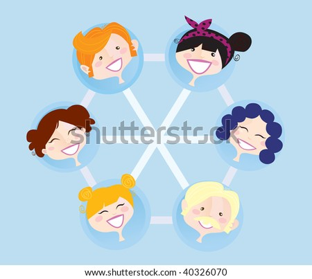 Network social group. Social network group illustration. Vector format. Easy to change colors and resize. - stock vector