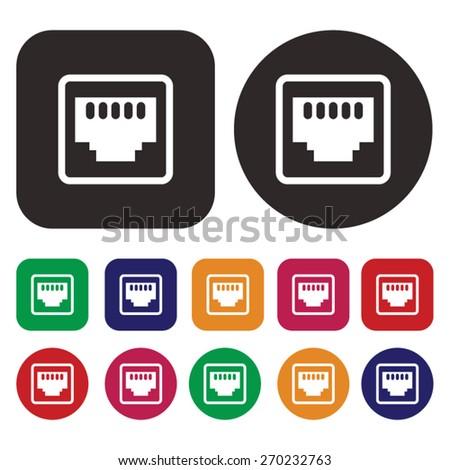 network socket icon. LAN icon - stock vector