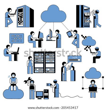 network technician, people icons, cloud computing icons - stock vector
