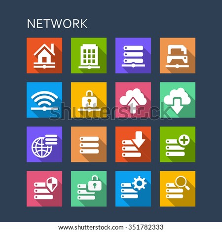 Network technology icon set - Flat Series with long shadows - stock vector