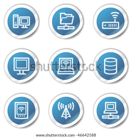Network web icons, blue sticker series - stock vector