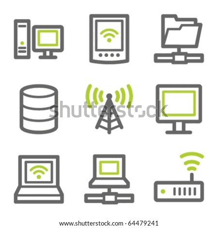 Network web icons, green and gray contour series - stock vector