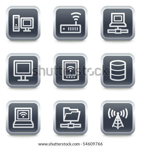 Network web icons, grey square buttons - stock vector