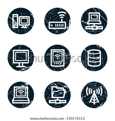 Network web icons, grunge circle buttons - stock vector