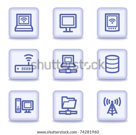 Network web icons, light violet glossy buttons - stock vector