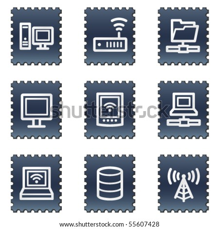 Network web icons, navy stamp series - stock vector