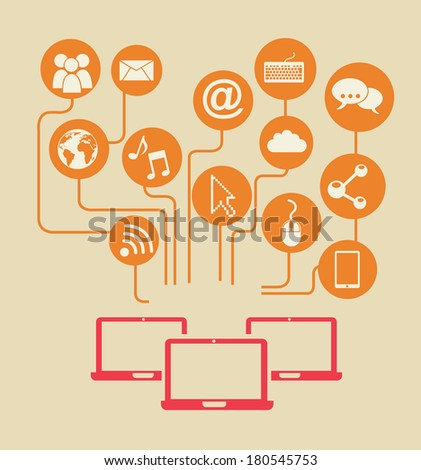 networking design over vintage background vector illustration - stock vector