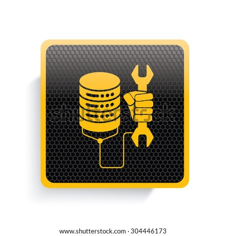Networking icon design,yellow version,clean vector - stock vector