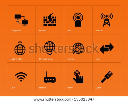 Networking icons on orange background. Vector illustration. - stock vector
